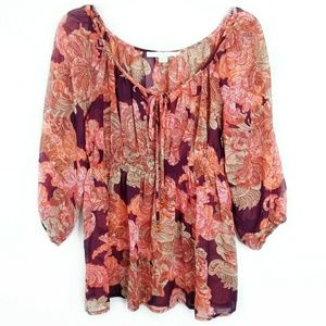 Boston Proper Semi Sheer Billow Sleeve Floral Top